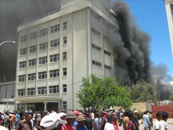 Fire on the streets of Antananarivo